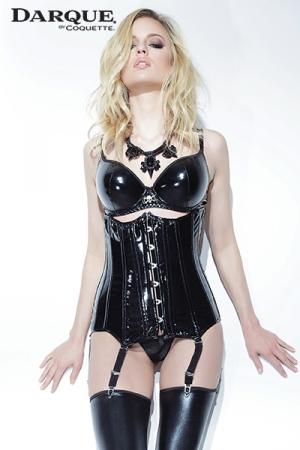 Corset serre-taille Darque : Sculptez une silhouette de rêve avec ce corset vinyle qui s'ajuste depuis le dessous des seins jusqu'aux hanches.